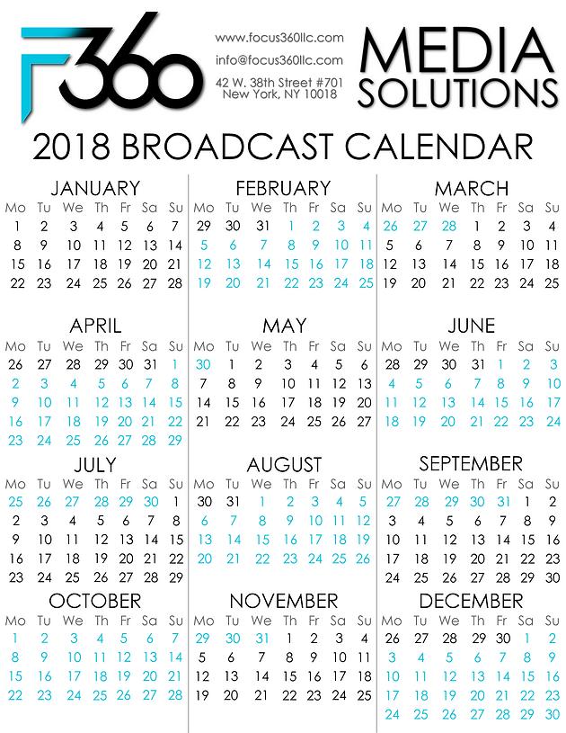 2018 calendar broadcast view source
