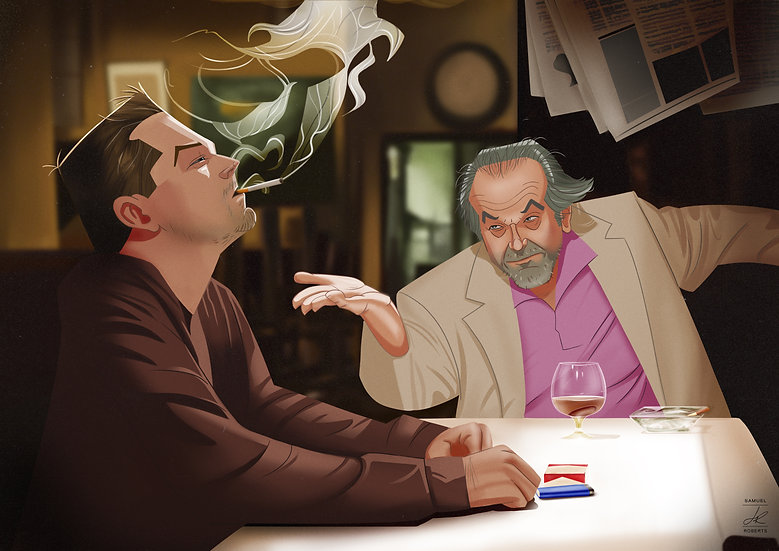 Billy and Costello - The Departed Matte Poster Size A3 (297 x 420 mm)