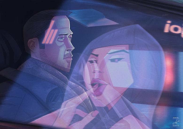 Officer K and Joi - Blade Runner 2049 Gloss Poster s