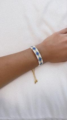 Rice Bead Evil Eye Bracelet