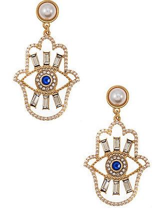 Pearl Hamsa Hand Earrings