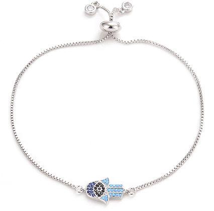 Silver Hamsa Hand Bracelet