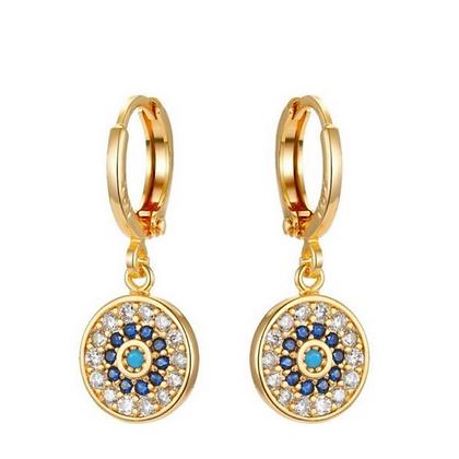 Coin Evil Eye Earrings Gold