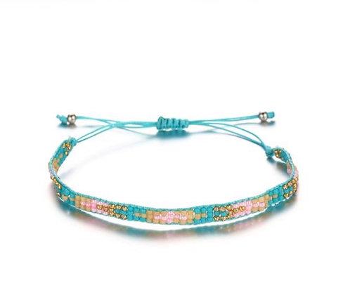 Turquoise Blue Rice Bead Bracelet