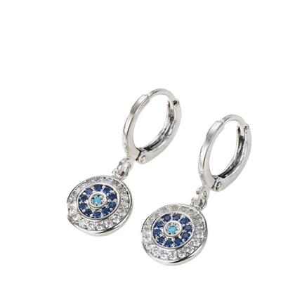 Coin Evil Eye Earrings Silver
