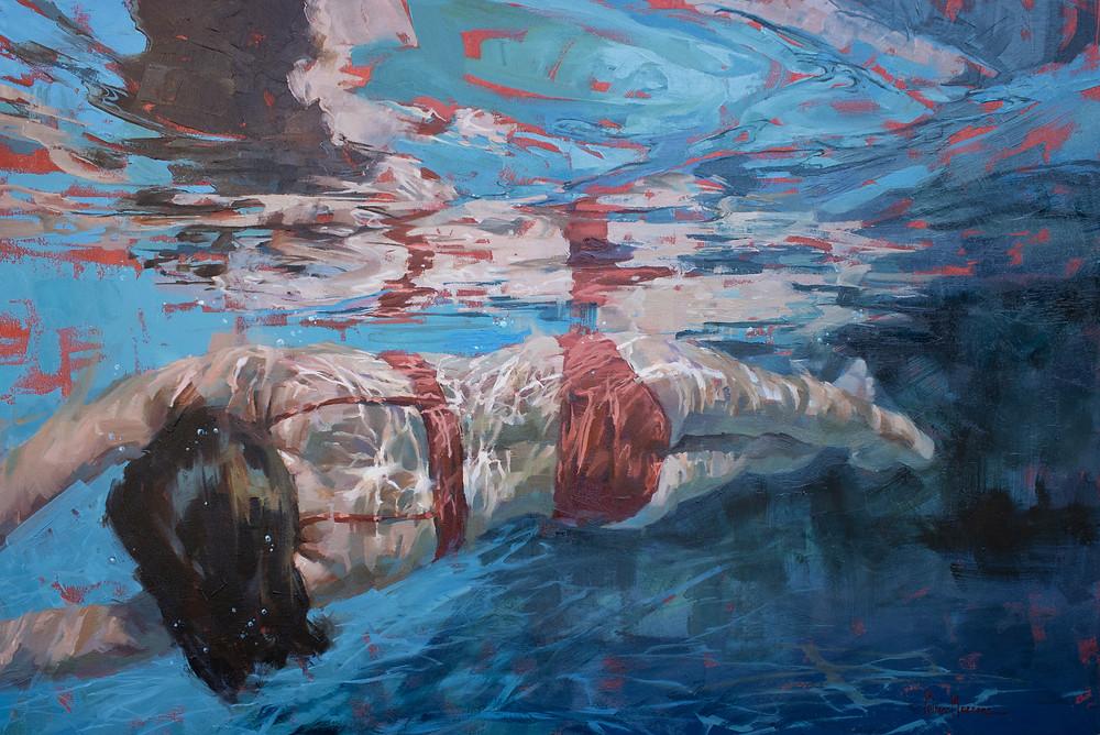 "Stretch, oil on canvas, 24"" x 36"""