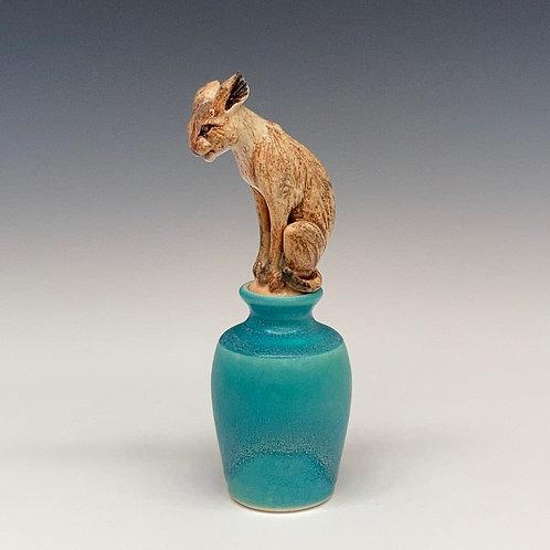 Bobcat Perfume Bottle, Torquoise