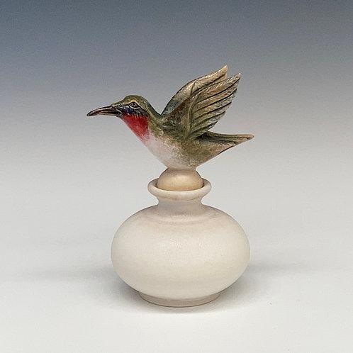 Hummingbird Perfume Bottle, White