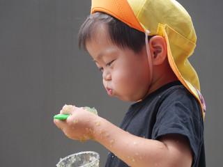 寒天あそび😄 オレンジ組2歳児
