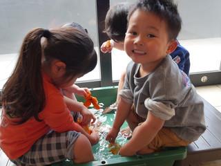 みかん風呂🍊♨️ オレンジ組2歳児