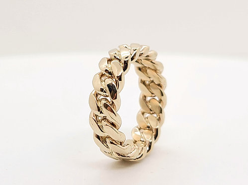 GOLD CUBAN RING 8MM
