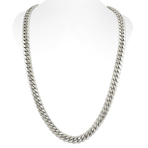 14K WHITE CUBAN LINK CHAIN (12MM)