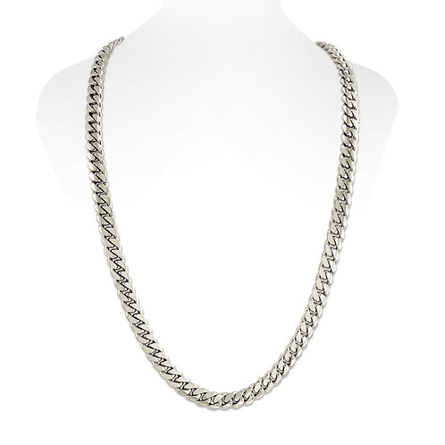 SILVER CUBAN LINK CHAIN (10MM)