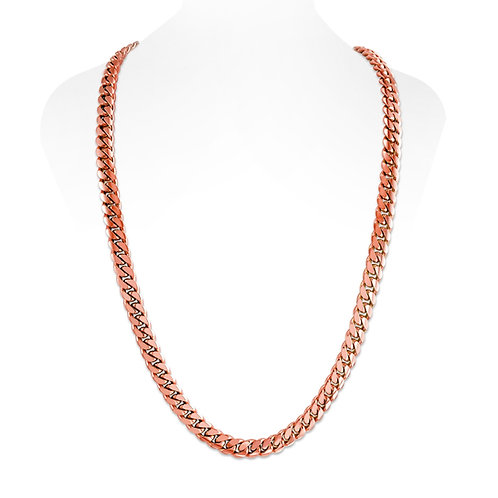 18K ROSE CUBAN LINK CHAIN (10MM)