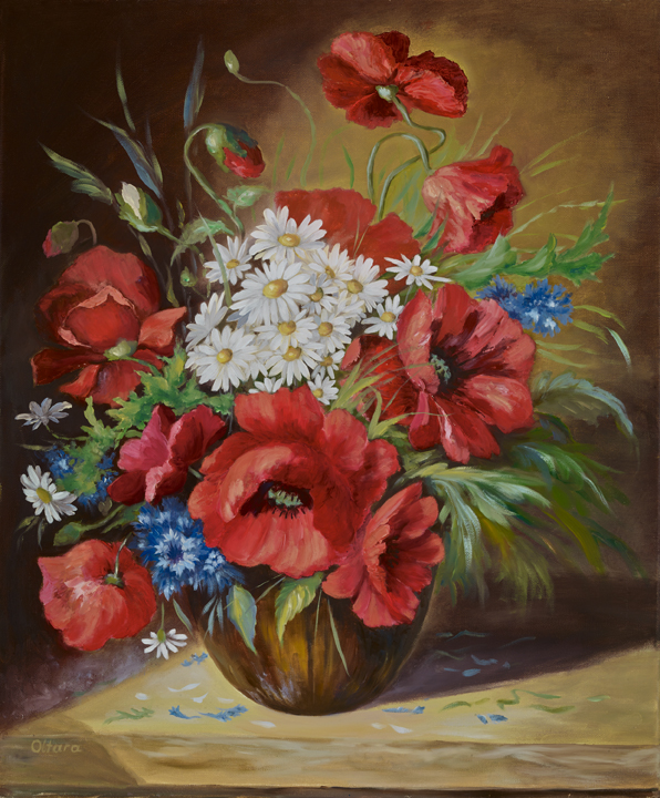 Poppies with daisies