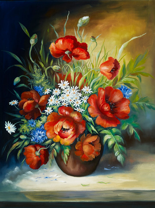 Poppies with daisies 2