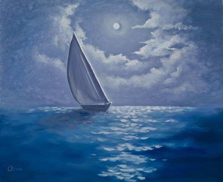 Moonlit night in the ocean
