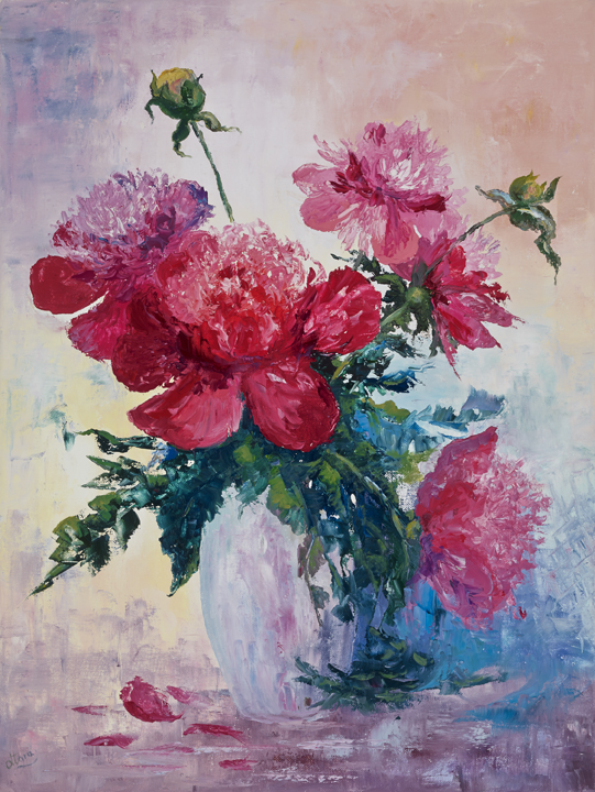 Pink peonies in a vase