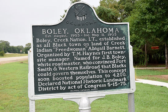 Boley town info sign