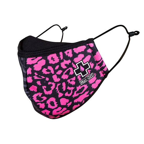 Muc -Off reusable face mask in Animal print pink/grey