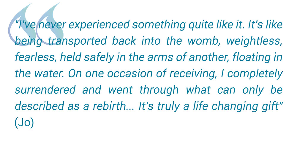 pull out text from a testimonial by a client about her watsu session feeling like being transported back into the womb