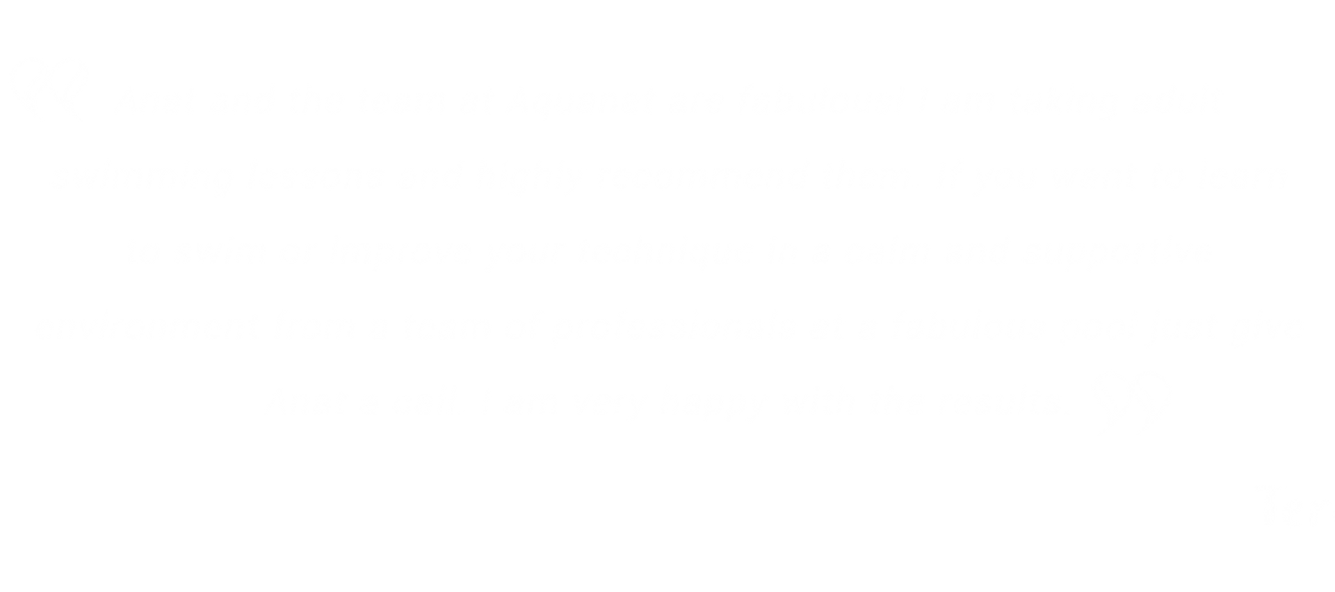 Testimonial adult swimming lessons Perth