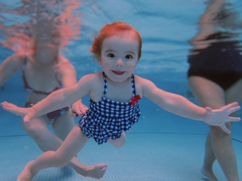 underwater toddler in swimmin g lesson s