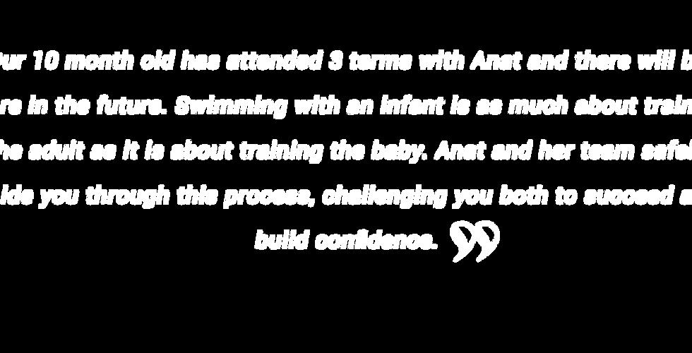 Testimonial baby swimming lessons Perth