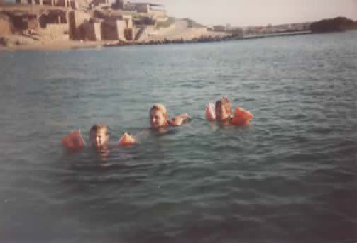 Shaked and Adaya with me in the Mediterranean ocean