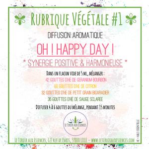 Rubrique Végétale Diffusion aromatique positiviste & harmonieuse OH ! HAPPY DAY ! LE TIROIR AUX ESSENCES
