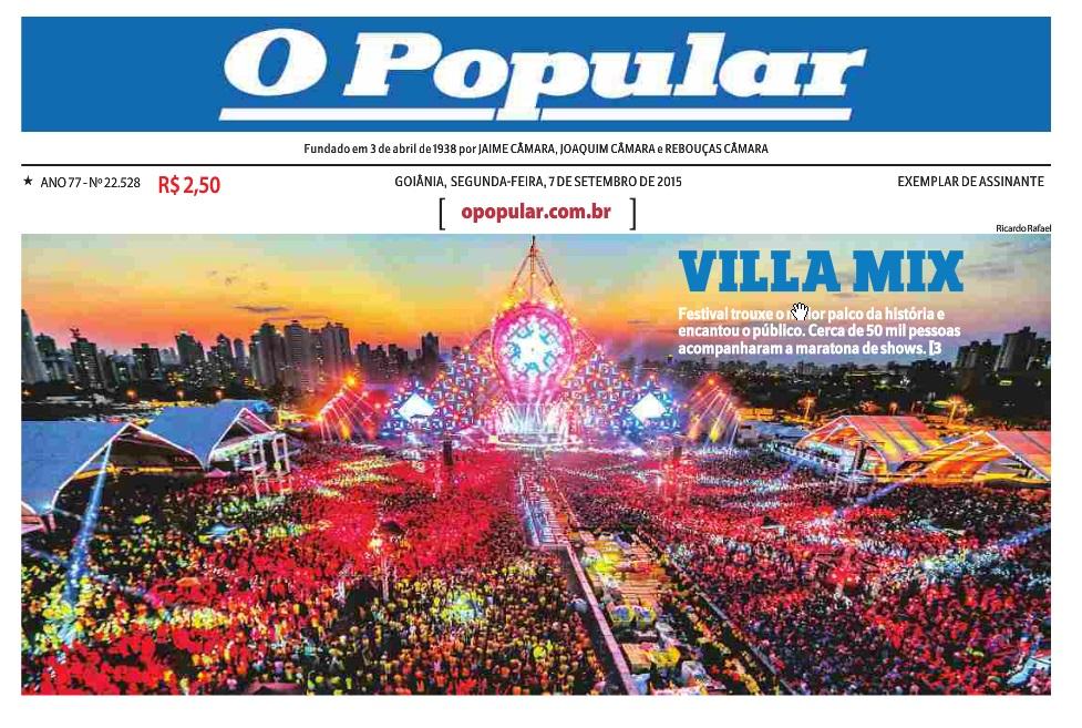 C105 - Capa do jornal O Popular  - 07-09-2015