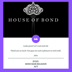 Bond Hair Religion Testimonial