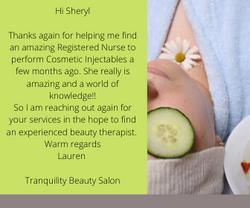 Tranquility Beauty Salon Testimonial