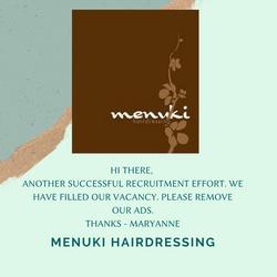 Menuki Hairdressing Testimonial