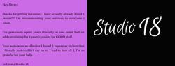 Studio 18 Testimonial