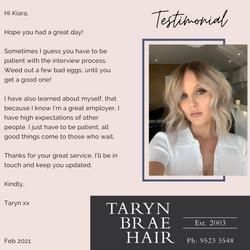 Taryn Brae Hair Testimonial