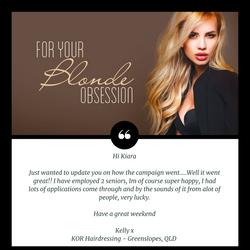 KOR Hairdressing Testimonial