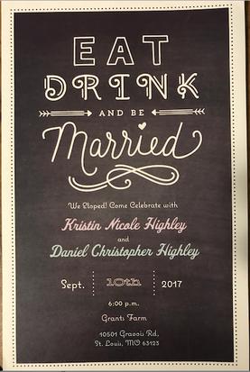Dan & Kristin Highley Wedding Reception Invite