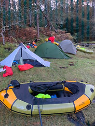 Packraft Exped Paddler wild camp set up