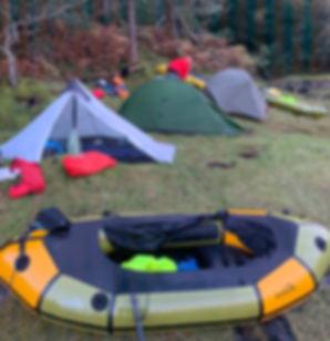 Packraft Exped Paddler wild camp set up