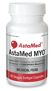 Image of a bottle of AstaMed MYO for sarcopenia, a muscle loss or muscle wasting