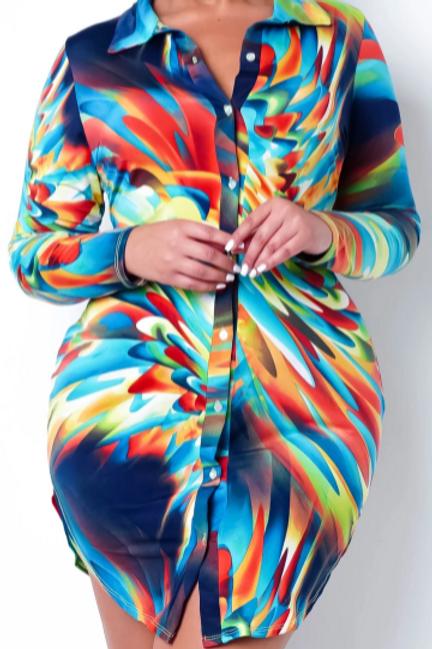 Deity Rainbow Splash Button Dress