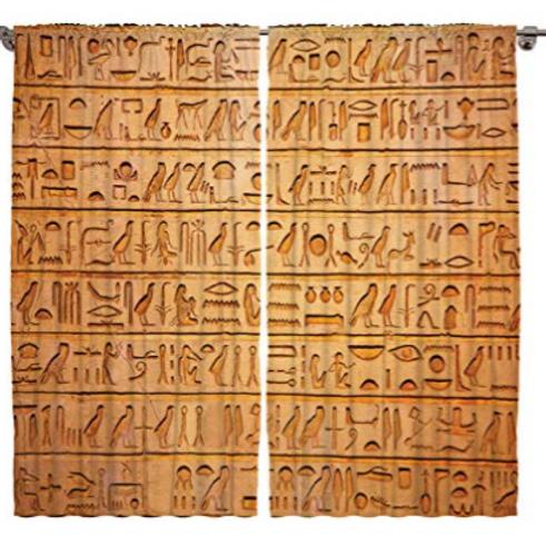 Hieroglyph 2 Panel Curtain