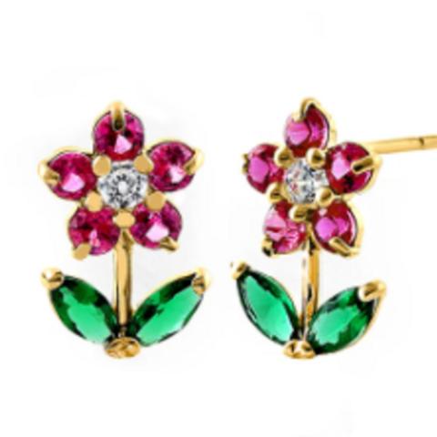 Deity Dainty Floral Garden(Ruby & Emerald)