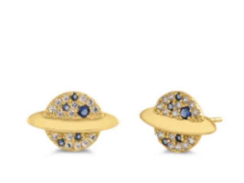 Deity 14K Solid Gold Saphire Saturn Earrings