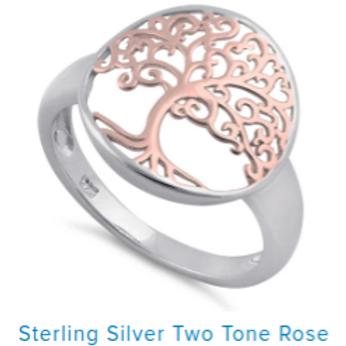 Rose Tone Tree of Life Ring
