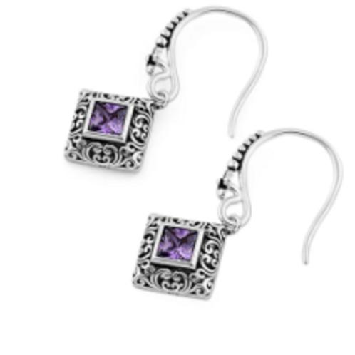 Deity Purple Crystal 925 Earrings