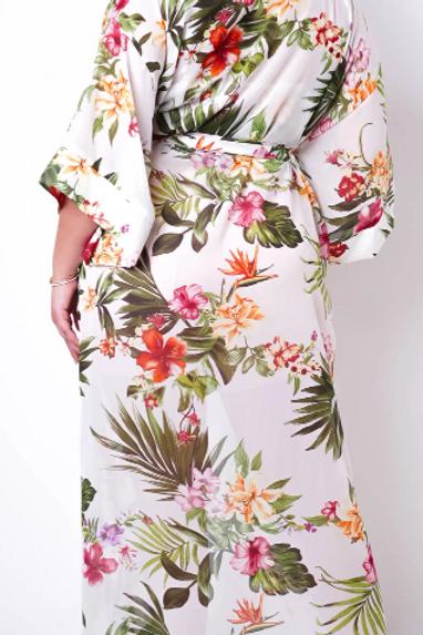 The Tropics Floral Bodysuit Robe Set