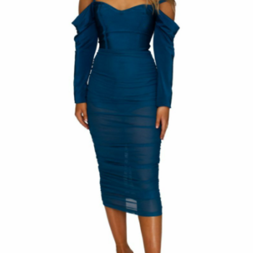 Ruched Navy Dress