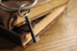 old keys on a old book, antique wood bac
